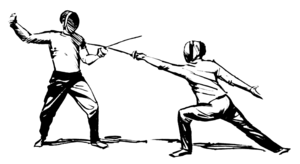 Line art drawing depicting two people fencing
