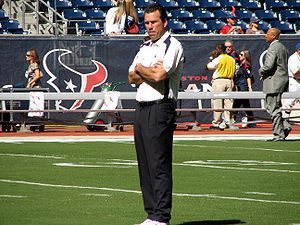 Houston Texans head coach, Gary Kubiak at a ga...