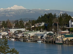 La Conner, Washington waterfront, Mount Baker ...