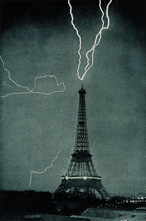 Lightning striking the Eiffel Tower