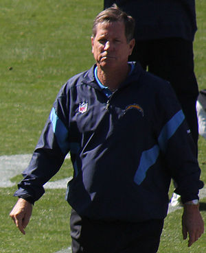 English: Norv Turner, the coach of the San Die...