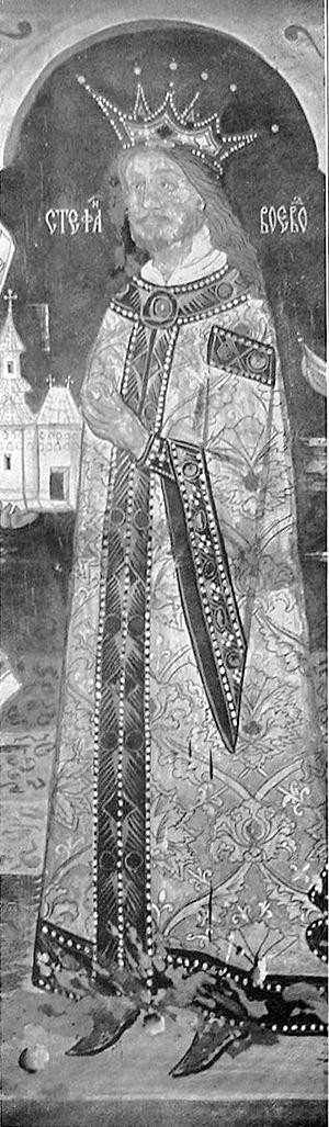 Ştefan cel Mare at St. Nicholas church, Dorohoi.