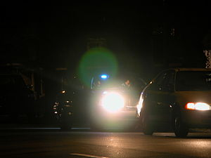 English: Night-time traffic stop on Gregson St...