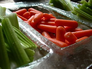 Crudités platter including carrots and celery