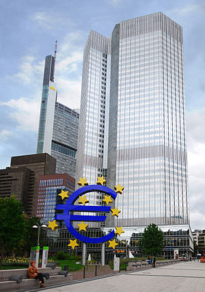 The European Central Bank. Notice a sculpture ...