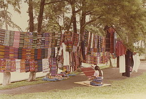 English: Traditional highland weavings, and wo...