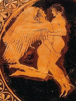 Céfiro y Jacinto en un cáliz de cerámica hallado en Tarquinia y fechado en 490-480 dC. Museo de Arte de Boston, Estados Unidos.