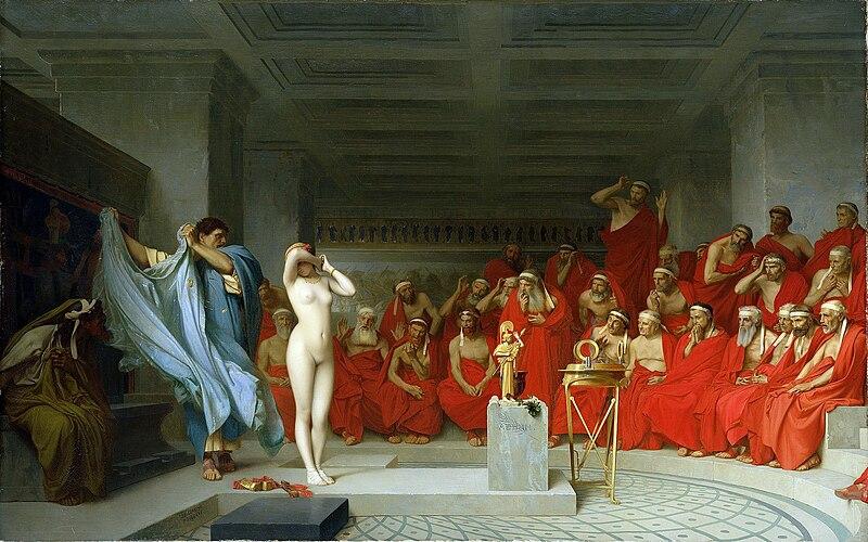 File:Jean-Léon Gérôme, Phryne revealed before the Areopagus (1861) - 01.jpg