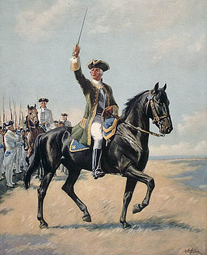 Montcalm leading his troops at Quebec.