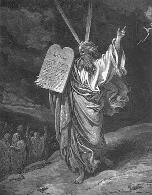 English: Moses Showing the Ten Commandments, b...