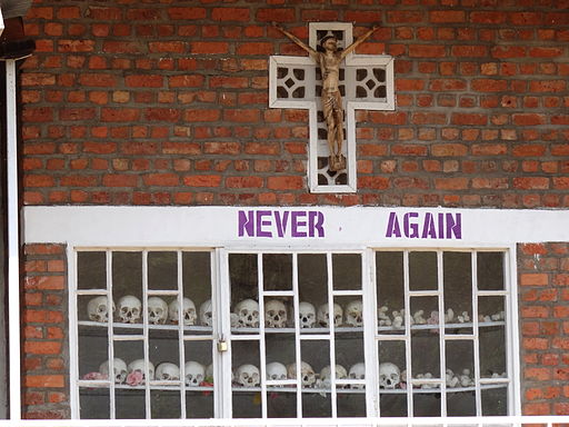 Never Again - With Display of Skulls of Victims - Courtyard of Genocide Memorial Church - Karongi-Kibuye - Western Rwanda - 01