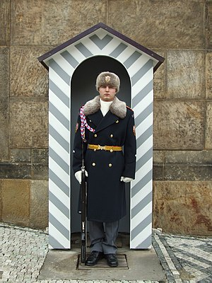 A guard outside Prague Castle - winter uniform