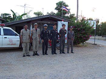 Thai Police officers - Huaikhot, Uthaithani, T...