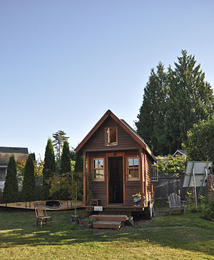 A tiny, mobile house in a Portland, Oregon yard.