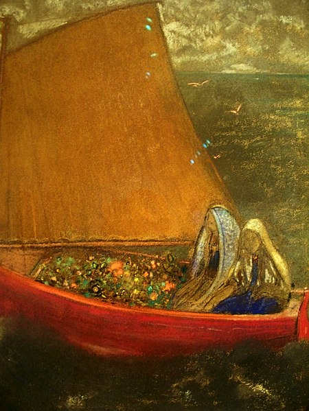 Odilon Redon, yellow sail, final journey, soul, guardians,