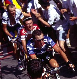 The 2003 Tour de France on Alpe d'Huez, with L...