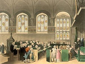 English: The Court of Chancery: This engraving...