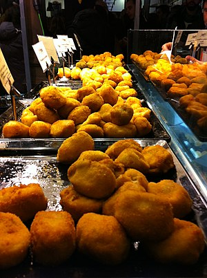 English: Spanish croquetas, Madrid, Spain Fran...