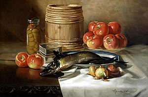 """Still Life with Fish,"" oil on canva..."