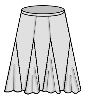 A skirt with godets set on the seams.