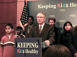 English: Harry Reid speaking at the State Chil...