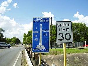 English: Jacinto City Welcome sign