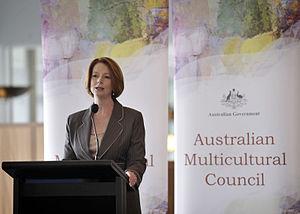 Julia Gillard speaking at the lanch of the Aus...