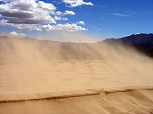 Sand blowing on the Kelso Dunes, California.