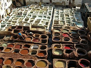 English: Leather tanning, Fes, Morocco Françai...