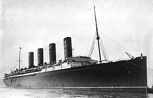 RMS Lusitania coming into port, possibly in Ne...