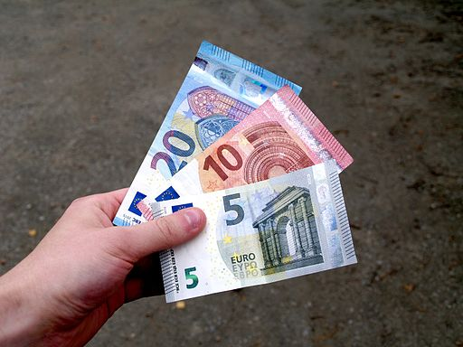 Second series 5, 10, 20 Euro banknotes in hand