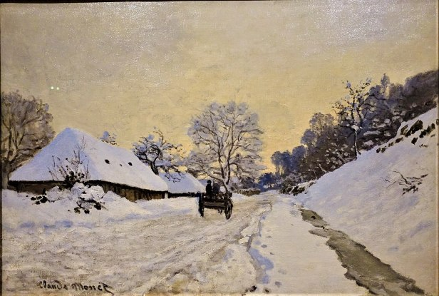 """A Cart on the Snowy Road at Honfleur"" by Claude Monet - Musée d'Orsay - Joy of Museums"