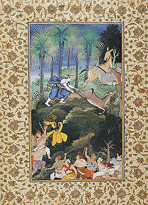 Balarama Kills Dhenukasura, Folio from a Hariv...