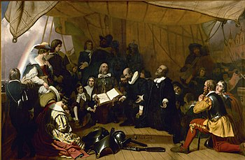 Embarkation of the Pilgrims by Robert Weir a c...