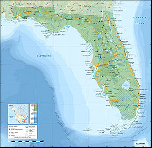 Topographic map of the State of Florida, USA (...