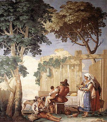 Giovanni Domenico Tiepolo - Family Meal - WGA22385