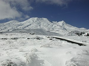 Mount Ruapehu in winter, from south side (Turoa).