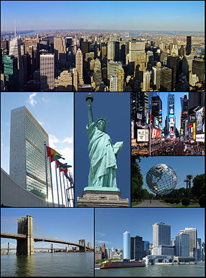 English: From top left: Midtown Manhattan, Uni...