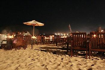 Night time on Jimbaran Beach (Bali, Indonesia)