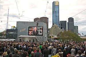 Kevin Rudd on screen in Federation Square, Mel...