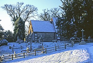 English: St Nicholas, Pyrford, in snow Not som...