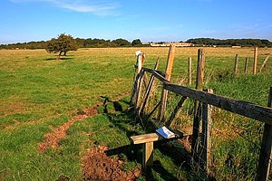 English: Stile Near Summerfield Farm Looking a...