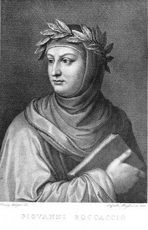 Engraved portrait of Giovanni Boccaccio