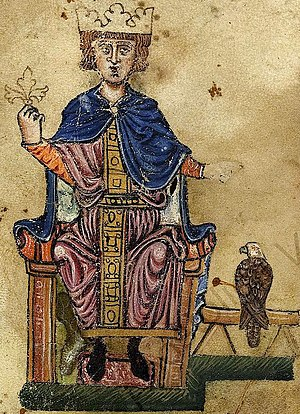 Frederick II and his falcon. From his book De ...