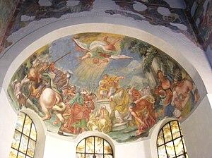 Français : Fresques de l'abside de l'église Sa...