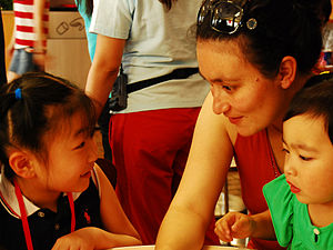 A girl learning English in Shanghai.