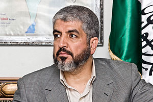 Khaled Meshaal in a meeting with spanish journ...