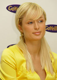 Paris Hilton at a press conference for GoYello...