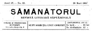Sămănătorul logo for issue no. 12, dated March...