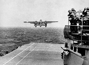 A B-25 takes off from Hornet.